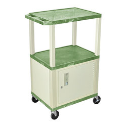 Luxor - H Wilson Presentation Cart - WT42GC3E - H Wilson's WT Tuffy multi-purpose carts are made of high density polyethylene structural foam injection molded plastic shelves and legs that will not chip, warp, crack, rust or peel. Shelves and legs can be recycled.