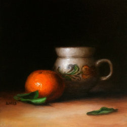 """Still Life With Pottery, Original, Painting - This traditional Romanian pottery was a gift, and it's been on my 'to paint' list for a while. Glad to finally get to it! 8"""" x 8"""" oil painting on canvas, from life."""