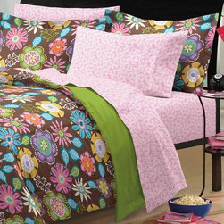None - Boho Garden 7-piece Bed in a Bag with Sheet Set - This Bohemian retro-inspired comforter set features a floral pattern in pink,green,yellow,purple,orange and blue on brown background with a reversal to lovely garden green. The coordinating sheet set showcases small tossed berry branches.