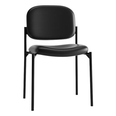 Hon - Basyx Guest Chair, 4-Leg Base - Come in. Sit a spell. Show your guests your hospitable side with this chair. It's made of black tubular steel with a padded back and seat, and stacks up to four high when not in use. Y'all come back now, ya hear?