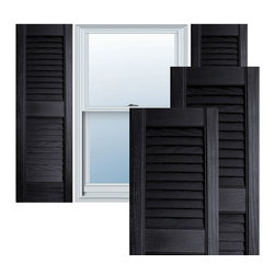 "Alpha Systems LLC - 12"" x 71"" Builders Choice Vinyl Open Louver Shutters,w/Screws, Black - Our Builders Choice Vinyl Shutters are the perfect choice for inexpensively updating your home. With a solid wood look, wide color selection, and incomparable performance, exterior vinyl shutters are an ideal way to add beauty and charm to any home exterior. Everything is included with your vinyl shutter shipment. Color matching shutter screws and a beautiful new set of vinyl shutters."