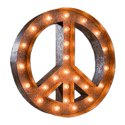 Vintage Marquee Lights - Vintage Marquee Lights Peace Vintage Marquee Light - Peace Vintage Marquee LightTurn up the lights to find your design spark! With the Peace Vintage Marquee Light, you can enjoy whimsical, eclectic-chic style. This light is made from distressed, rusted metal and is shaped into a peace symbol. It has an authentic look, as if it were truly plucked from a salvage yard or taken off of an old business sign. Stand it up on a high shelf, or mount it on your wall as vintage-inspired art. You can use it to give a space a playful touch or let it play up a groovy feel in your home. Peace out!Light can hang or stand upComes with two sets of bulbsAssembly requiredUp to four lights can be linked together