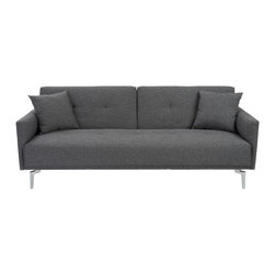 Euro Style - Lafau Sofa Bed With Armrest - Versatile and sophisticated don't always come in one piece.  But the Lafau has removable armrests that dramatically change the look, and polished steel legs and large matching cushions are timeless.   Time for a little entertaining, Manhattan style?