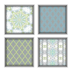 Studio D&K - Large Wall Art Set of 4 Prints • Moroccan Style Abstract Art Set - Moroccan Inspired Art Set of four 14x14 Abstract Prints in Lime Green, Blue, and Grey