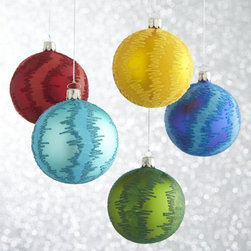 Global Flocked Glitter Ball Ornaments - The pattern on these ornaments reminds me of fabric, so naturally, I love them!