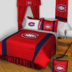 Sports Coverage - NHL Montreal Canadiens Sidelines Complete Bedroom Package - Twin - Save big and show your NHL team spirit with Montreal Canadiens Sidelines Complete Bedroom Package which includes a Comforter, Micro Fiber Sheet set, Shams, Pillows, Bedskirt and Valance! Buy the complete Bedroom Package and save off our already discounted prices - the best we could find; when you buy the complete bedroom package instead of each piece separately, you save and save big. Sheet Sets are plain white in color with no team logo. Bedskirt is available in team color with no team logo printed on them.  Includes:  -  Comforter - Twin 66 x 86, Full/Queen 86 x 86,    -  Flat Sheet - Twin 66 x 96, Full 81 x 96, Queen 90 x 102.,    - Fitted Sheet - Twin 39 x 75, Full 54 x 75, Queen 60 X 80,    -  Pillow case Standard - 21 x 30,    - Pillow Sham - 25 x 31,    -  Bedskirt - Twin 76 x 39, Full 76 x 54, Queen 80 x 60 ,    - 18 Toss Pillow ,    -  Window Valance : 88 x 14 ,