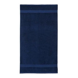 "PB Essential Pool Towel, Ink Blue, Personalized - Woven of plush 650-gram-weight cotton and combed for extra softness, this ultra-absorbent towel is an affordable luxury. Dobby weaving along the edges adds a stylistic flair. 32 x 64"" Made of pure cotton terry. Ultraplush 650-gram weight. Machine wash. Monogramming is available at an additional charge. Monogram is 3"" and will be centered at one end of the beach towel. Internet only. Imported."