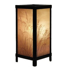 Porcelain Garden Lighting - Black Accent Table Lamp with Etched Porcelain Shade - LT07 - Four large Lithophane panels decorate this accent lamp. The lamp frame is made of durable steel, powdercoated in a black semi-gloss finish. A six foot cord is included. Takes (1) 60-watt incandescent A15 bulb(s). Bulb(s) included. UL listed. Dry location rated.