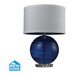 Dimond Lighting - Dimond Lighting HGTV242 Hgtv Home 1 Light Table Lamps in Sapphire - Mouth Blown Glass Table Lamp with Hand Applied Swirl Detail in Sapphire Blue