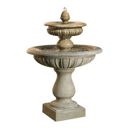 Campania - Longvue Outdoor Water Fountain, Aged Limestone - A beautiful fountain, Longvue Fountain is the perfect choice for your special outdoor area. Made from cast stone, the Longvue has a very substantial construction making it an ideal outdoor fountain. Discover just how enchanting your garden can become with this fountain.