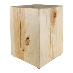 """Pfeifer Studio - Solid Pine Cube Table, Natural Pine, 15"""" X 15"""" X 20"""" - The beauty of natural wood is displayed in all its glory in this simple square side table. Handmade in the USA, the attention to detail shows in the textured finish and all-natural beeswax and lemon oil wood wax. Use one or a pair of these to add warmth to any room in your home."""