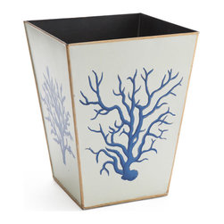 Blue Coral Wastebasket - Heliopora coerulea is a unique and rare species of blue coral found only in Indonesia and parts of Northern Australia. Now, you can keep a bit of the exotic in your home with this handpainted wastebasket.