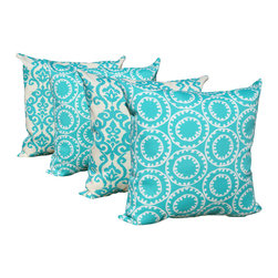 Land of Pillows - Luminary & Ring a Bell - Turquoise Set of 4 Outdoor Throw Pillows, 20x20 - Fabric Designer - PKaufmann
