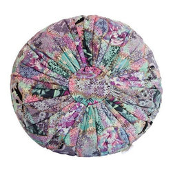 """Brilliant Imports - Abstract Floral Batik Pouf Pillow, Blue-Lavendar, Varies by Pouf - This charming pouf knows how to make a statement. Sit on it and transcend. Designed by and exclusively handmade for Brilliant Imports in Bali with batik fabric. Use as a floor pillow/cushion, pouf or as an extra seat.  Available in a red-pink palette as well as in a blue-lavender design.  100% cotton.  Dimensions:  14h x 25""""diam {size varies slightly by pouf}"""