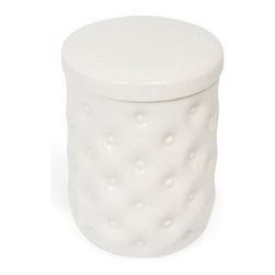 Grandin Road - Savoy Cotton Jar - Embossed, round white porcelain cotton jar with a lid. Crafted from fine white porcelain with a glossy glaze. Jar has dimple-sculpted side surfaces; lid is smooth. Hand wash with mild soap and water. Give your bathroom an elegant, designer look with the white porcelain Savoy cotton jar on your vanity or dressing table. Fill the round, lidded container with cotton swabs, cosmetic wedges, hair accessories or cotton balls (not included) and your bath will be beautifully organized with sculpted and glossy white porcelain. Create your own suite of elegant and practical accessories for the master bath or powder room with a complete collection of Savoy bath accessories. . . . . Imported.