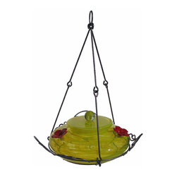 Nature's Way - Garden Top Fill Yellow Swirl - The Garden Hummingbird Feeders are made of beautiful, hand-blown glass and feature easy fill and clean feeders that have 4 inch wide openings for easier filling and cleaning removable flowers.