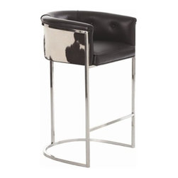 Calvin Bar Stool in Black Leather and Blk/Wht Hide by Arteriors Home - This transitional, box style bar stool, with low curved back, is supported by a stainless steel frame with polished nickel finish. The seat upholstery features top grain leather with a black and white hide back. Hide will vary.