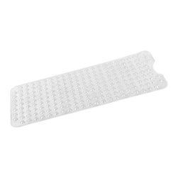 """""""Jumbo"""" Long (16'' x 40'') Slip-Resistant Bath Tub Mat in Super Clear - """"Jumbo"""" extra long clear vinyl bath tub mat, size 40"""" long x 16"""" wide. Our """"Jumbo"""" Long (16'' wide x 40'' long), Super Clear Slip-Resistant Bath Tub Mat provides great deal of protection for a great amount of space. Made of a durable vinyl, this mat's numerous suction cups stick to securely to slick surfaces, safeguarding you from potential slips and spills. Wipe clean with damp sponge with warm soapy cleaning solution"""