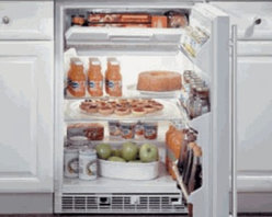 """Marvel - 61RF-BS-F-R 24"""" 5.3 Cu. ft. Built In Refrigerator/Freezer 2 Removable Tempered G - The 14 cu ft top-freezer compartment features a self-closing door and a temperature range of 10 F to 29 F The 44 cu ft refrigeration section can store up to 175 12 oz cans and with two removable glass shelves and three door shelves it offers maximum ..."""