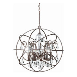 Crystorama - Crystorama Solaris Traditional Crystal Chandelier X-PWM-LC-BE-8209 - Crystal chandeliers are glamorous and old Hollywood. We have expanded our best selling Solaris Collection to add crystal elements inside the perfect sphere. We have married the contemporary sphere with the cut crystal chandelier, making the most beautiful jewelry for the room.