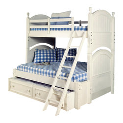 LC Kids - Summer Breeze Twin Over Full Bunk Bed in White Finish - Summer Breeze Collection. Includes headboard, footboard, rails, 1 slat roll for twin, 1 slat roll for full, ladder & bunk extension. Trundle or underbed storage unit not included. Slat roll recommended for underbed storage. 2 Sets of each components. Select hardwood solids. With ladder: 84 in. L x 71 in. W x 78 in. H (356 lbs.). Without ladder: 84 in. L x 45 in. W x 78 in. H. Twin top bunk max. capacity: 350 lbs.. Headboard: 4 in. L x 45 in. W x 40 in. H. Footboard: 4 in. L x 45 in. W x 38 in. H. Rails: 2 in. L x 76 in. W x 5 in. H (20 lbs.). Ladder: 27 in. L x 13 in. W x 59 in. H. Long guard rails: 2 in. L x 76 in. W x 16 in. H. Short guard rails: 2 in. L x 61 in. W x 16 in. H. Slat roll for twin: 74 in. L x 39 in. W x 1 in. H (30 lbs.). Slat roll for full: 74 in. L x 54 in. W x 1 in. H (41 lbs.). Bunk extension: 84 in. L x 71 in. W x 78 in. H (387 lbs.). Ladder can be placed on either sides of the bed. High/low locking rails. Bolt on railsBunk Bed Cautions. Please read before purchase.