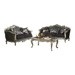 """Acme - 2-Piece Chantelle Collection Antique Silver Finish Wood Sofa and Love Seat Set - 2-Piece Chantelle collection antique silver finish wood tufted back seats sofa and love seat set. This set includes the sofa and love seat with tufted backs and throw pillows, with carved accents and nail head trim. Sofa measures 84"""" x 37"""" x 43"""" H. Love seat measures 63"""" x 37"""" x 43"""" H. Some assembly may be required."""