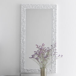 Azzurra - Azzurra   Riccioli Vertical Mirror - Made in Italy by Azzurra.The Riccioli Vertical Mirror adds classic design and stunning presence to any modern bathroom vanity or bath space with its unique frame texture. The antique floral pattern of the mirror frame creates an interesting contrast to modern bathrooms and bedrooms alike. The rectangular full-length shape of the Riccioli Vertical Mirror ensures a clear reflection for all of your daily styling needs. Product Features: