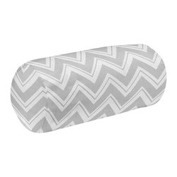 Sweet Jojo Designs - Zig Zag Turquoise and Gray Chevron Neckroll Pillow by Sweet Jojo Designs - The Zig Zag Turquoise and Gray Chevron Neckroll Pillow by Sweet Jojo Designs, along with the bedding accessories.