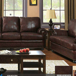 Brown Genuine Leather Sofa Couch Loveseat Living Room Nailhead Trim - The quality of the beautiful genuine leather match shines through the simple, transitional design of this set. Rolled arms with nailhead trim in the arm panels and base border, combined with the turned bun feet, give this sofa set a refined and classic feel.