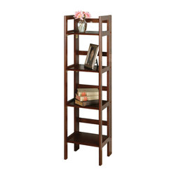 Winsomewood - 4-tier Folding Shelf, Narrow - This folding shelf comes in three different finishes to match any space. Use it in the bathroom for your towels, in the kids room for their stuff toys or in an office for books or files. Made of Solid beech wood.