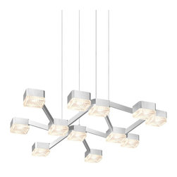 Sonneman Lighting - Sonneman Lighting 2326.16C Lattice 12-Light LED Square Pendant Light In Bright S - Sonneman Lighting 2326.16C Lattice 12-Light Led Square Pendant Light In Bright Satin Aluminum