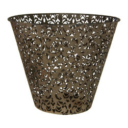 Oriental Furniture - Wrought Iron Filigree Waste Basket - A lovely, rustic accent for the home, this light iron wastebasket is a stylish way to add a practical function to any room. Featuring a delicate floral filigree and a stylish faux-rust patina, this basket is especially perfect for complementing modern eclectic and shabby chic interior decor styles.