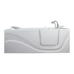 Ellas Bubbles - Ella Lay Down Soaking Walk in Bath (306001RW) Right Side Door and Drain - The Ella Lay Down 60 in. Walk-in Bathtub is specifically designed for people who want to lay prone while bathing but cannot lift their legs to get in and out of a traditional bathtub. Its standard 30 in. by 60 in. length allows it to fit where a standard bathtub once was. Indulgence and enjoy bathing while you soak in our lay down walk in bathtub. This walk-in bath is constructed of the highest grade fiberglass composite with a gel coat high gloss finish for beauty and durability. It is supported with a durable stainless steel frame. Like all Ella Walk in Baths, the lay down walk in bathtub features our durable high gloss finish, anti-slip floor, low step for easy entrance, an extension panel to fit up to a 60 in. opening, a hand shower with pull out hose and a high quality Huntington Brass Roman Faucet set. You can chose from left or right hand side door and drain, the soaking model or the massage model which is equipped with air, hydro or dual therapy massage options.