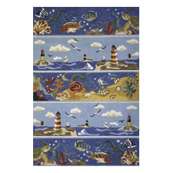Momeni - Momeni Coastal Kids Blue 2' x 3' Rug by RugLots - Breezy depictions and cool, ocean colors combine in the Coastal collection. Palm trees, seashells, and tropical fish make this hand-hooked collection a beachy must-have.