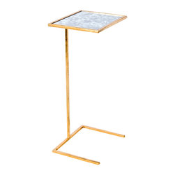 Kathy Kuo Home - Burns Hollywood Regency Gold Antique Mirror Side Table - Slide some style next an armchair or sofa for wine and cheese, cigars or any other petite delicacies you're craving. Polished gold shimmers on slim legs, supporting a mirrored rectangular tabletop. Space-saving and ingenious, this versatile side table is at your service.