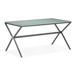 Zuo Modern - Zuo Modern Xert Modern Dining Table X-291201 - Give the dining room a pinch of edge with the Xert dining table. The gray frame with frosted glass, white frame with painted glass instantly adds the new dimension to any dining experience.