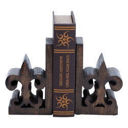 Benzara - Book End Pair with Bold Fleur De Lis Motif - A perfect combination of style and functionality, this Wood Book End Pair 8 in. H, 5 in. W is designed with great finesse to combine durability with style. A perfect decor accent, this book end pair has bold Fleur de Lis motifs for a classic, old-world appeal. The pair also features a rustic looking brown finish, which further accentuates the design aesthetics. Ideally decorated with a matte texture and natural wood grain pattern, the book end pair makes for a charming decor accent. The sturdy grommets on the base prevent the book ends from sliding or shifting during use. Perfectly crafted from premium grade wood, this book end pair has a sturdy yet lightweight design for versatile usage. You can consider gifting this useful accessory to your friend who is interested in books..