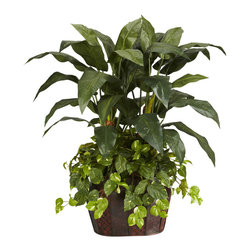Nearly Natural - 4' Double Bird of Paradise with Vase & Pothos Silk Plant - Double your beauty with our Double Bird of Paradise with Vase arrangement. Standing tall at 4 feet high, the different shapes of foliage are sure to delight and capture the interest of any who pass by. The large nearly triangular leaves on top, provide an excellent contrast to the smaller brighter rounded leaves on bottom. Comes in an-island inspired design vase for a truly exotic look and feel. Colors: Green; Pot Size: W: 19 in, H: 13 in, D: 14 in. Height: 48 in; Width: 45 in; Depth: 32 in.