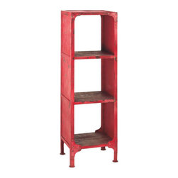 Antiqued Red Bookcase - The spines of your books will look even better with the bold pop of red provided by this gorgeously antiqued shelf. Tall and narrow, it also makes an interesting space for decorative glass elements, and fits well into a tight corner.