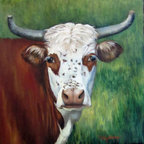Oil Paintings by Cheri - Cow Art - Ms Eloise - Hereford Cow Oil Painting - 20x20 Stretched Canvas - Oil Painting of Ms Eloise and she has freckles! She is a cross between a Hereford cow and longhorn (maybe)! She is a beauty and she holds her head and horns high with great dignity! She is proud and friendly. She is in a natural pastoral environment and create a rustic and natural statement in any home. She would make a great addition to any mantel décor or kitchen décor.