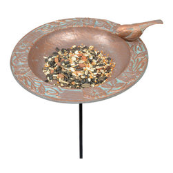 Chickadee Garden Bird Feeder  - Copper Verde - Intricate vines and flowers circle around the center of this bird feeder, while a chickadee rests on the rim inviting a gathering of birds. This bird feeder will nicely complement your garden.