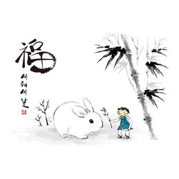 Custom Photo Factory - Chinese Ink Painting for the Year of the Rabbit  Canvas Wall Art - Chinese Ink Painting for the Year of the Rabbit   Size: 20 Inches x 30 Inches . Ready to Hang on 1.5 Inch Thick Wooden Frame. 30 Day Money Back Guarantee. Made in America-Los Angeles, CA. High Quality, Archival Museum Grade Canvas. Will last 150 Plus Years Without Fading. High quality canvas art print using archival inks and museum grade canvas. Archival quality canvas print will last over 150 years without fading. Canvas reproduction comes in different sizes. Gallery-wrapped style: the entire print is wrapped around 1.5 inch thick wooden frame. We use the highest quality pine wood available. By purchasing this canvas art photo, you agree it's for personal use only and it's not for republication, re-transmission, reproduction or other use.