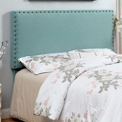 Furniture of America - Barber Nailhead Trim Headboard - IDF-7051IV-HB-T - Shop for Headboards and Footboards from Hayneedle.com! With its contemporary shape and large nailhead border trim the Barber Nailhead Trim Headboard is a perfect way to dress up your bed. Built to last of solid wood and padded for luxurious comfort. This rectangular headboard is upholstered in flax fabric that comes in a variety of soothing color options. Choose from available headboard size options. Headboard Dimensions: Twin: 43W x 4D x 43H in. Queen: 64W x 4D x 43H in. About Furniture of AmericaBased in California Furniture of America has spent more than 20 years establishing itself as a premier provider of fine home furnishings to urban-minded shoppers. The people behind the brand are moved by passion hard work and persistence and their company's mission is to design the latest piece and offer high-quality furniture to trendy shoppers without compromising packaging integrity. Furniture of America offers unique coordinated and affordably designed furniture - not to mention exceptional style.