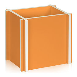 Way Basics - Paper Bag Holder, Orange - Unique recycling enclosure made from zBoard! An interlocking design gives a contemporary feel for those plain recycling paper bags. Recycling never looked so good.