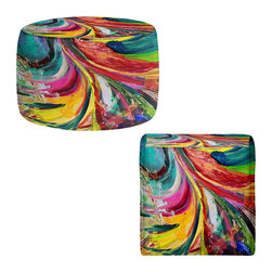 DiaNoche Designs - Ottoman Foot Stool by Rachel Brown - Synesthesia - Lightweight, artistic, bean bag style Ottomans. You now have a unique place to rest your legs or tush after a long day, on this firm, artistic furtniture!  Artist print on all sides. Dye Sublimation printing adheres the ink to the material for long life and durability.  Machine Washable on cold.  Product may vary slightly from image.