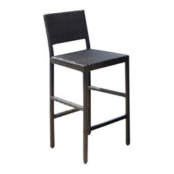 Home Styles - Home Styles Riviera Outdoor Woven Bar Stool in Brown - Home Styles - Outdoor Bar Stools Patio Barstools - 580088 - An economical solution for upscale outdoor furniture� ready-to-assemble, synthetic resin wicker! This Riviera Outdoor Woven Bar Stool by Home Styles is constructed of CycropleneTM , a synthetic resin wicker in a shade of deep brown with a gold streak design, woven over rust-resistant, powder-coated aluminum frames. CycropleneTM is 100 percent recyclable, moisture and weather resistant, low maintenance material. Features include metal foot rest and straight-style legs. Seat is padded for comfort.