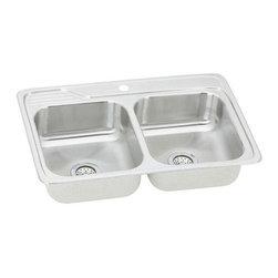 Elkay - Elkay Gourmet Celebrity Double Bowl Self-Rim Sink with One Hole (ECC33221) - Elkay ECC33221 Gourmet Celebrity Double Bowl Self-Rim Sink with One Hole, Stainless Steel