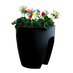 """Railing Planter (Set of 2), Black, Regular - This revolutionary planter provides a unique and modern solution for the urban gardener. The patented design holds securely to railings of any shape up to 4"""" wide without the need for screws or brackets. Two removable and cleanable trays provide easy, no drip drainage. Made from an eco-friendly and durable polypropylene, this beautiful planter resists UV rays and all weather conditions, so the bright color and material will last for years without fading or becoming brittle."""