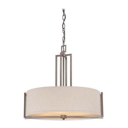Nuvo - 4 Light - Pendant - Khaki Fabric Shade - Khaki Fabric Shade Shade. UL Dry Rated. Incandescent . Color/Finish: Hazel Bronze. Max wattage: 60w. Bulb(s) not included. 23.5 in. W x 22.875 in. H