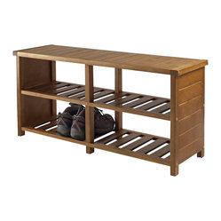 Winsome - Winsome Keystone Shoe Rack Bench in Teak Finish - Winsome - Shoe Racks - 33348 - Organize your shoes in your closet bedroom or entryway with the Keystone Shoe Bench.  For closet use top seat as extra shelf to stack clothes or place more shoes.